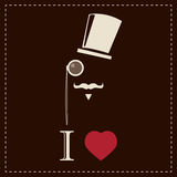 Vintage card with top hat, monocle and mustache Royalty Free Stock Image