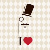 Vintage card with top hat, monocle and mustache Stock Photography