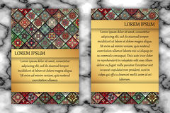Vintage card with tribal tile patchwork abstract pattern and orn Royalty Free Stock Images