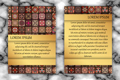 Vintage card with tribal tile patchwork abstract pattern and orn Stock Photo