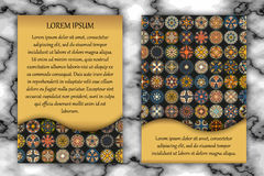 Vintage card with tribal tile patchwork abstract pattern and ornaments. Royalty Free Stock Images