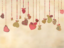Vintage card with valentines hearts. EPS 8 Royalty Free Stock Photo