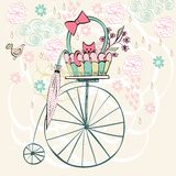 Vintage card. Vector with cat in bright colors Royalty Free Stock Photos