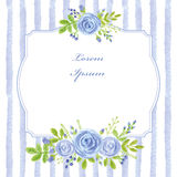 Vintage card.Watercolor blue rose,strips,label Stock Photo