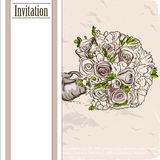 Vintage card with wedding bouquet. Royalty Free Stock Photo