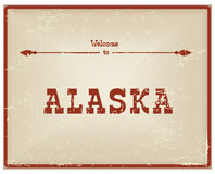 Vintage card Welcome to Alaska royalty free illustration