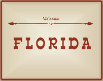 Vintage card Welcome to Florida vector illustration