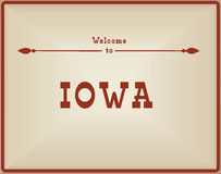 Vintage card Welcome to Iowa Stock Images