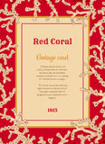 Vintage card with white corals Royalty Free Stock Photo