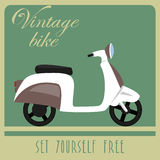 Vintage card of white scooter in retro style Stock Photo