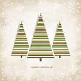 Vintage Card With Christmas Trees Stock Image