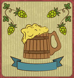 Vintage card with wooden mug beer Stock Photos