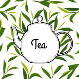 Vintage cardpure tea with kettle Royalty Free Stock Photo