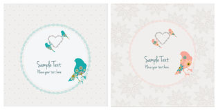 Vintage Cards With Birds. Vector set of two cards with birds and a heart Royalty Free Stock Photography