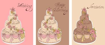 Vintage cards with cakes. Royalty Free Stock Photos