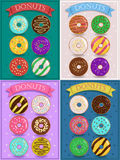 Vintage cards with colorful donuts stock image