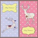 Vintage cards with deers Royalty Free Stock Photo