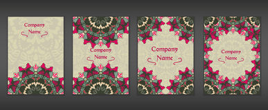 Vintage cards with Floral mandala pattern and ornaments. Vector Flyer oriental design Layout template. Islam, Arabic, Indian, Mexican ottoman motifs. Wallpaper Royalty Free Stock Photos