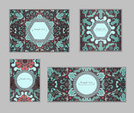 Vintage cards with Floral mandala pattern and ornaments. Vector Flyer oriental design Layout template. Islam, Arabic, Indian, Mexican ottoman motifs. Wallpaper Stock Image