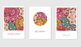 Vintage cards with Floral mandala pattern and ornaments. Stock Image