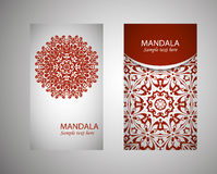 Vintage cards with Floral mandala pattern and ornaments. Vector Flyer oriental design Layout template. Islam, Arabic, Indian Royalty Free Stock Image
