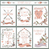 Vintage cards set.Doodle floral decor.Mothers day Royalty Free Stock Photos