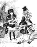 Fashionable girls portrait, vintage illustration. Vintage caricatures and fun: fashionable young girls confronting each other with fancy outfits Royalty Free Stock Images