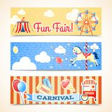Vintage carnival banners horizontal. Vintage retro carnival fun fair vertical banners isolated vector illustration Royalty Free Stock Photo
