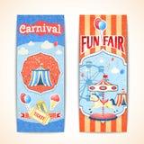 Vintage carnival banners vertical. Amusement entertainment carnival theme park fun fair vintage vertical banners isolated vector illustration Stock Photos