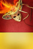 Vintage carnival mask. On yellow background Stock Photo