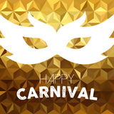 Vintage carnival mask design on gold background Stock Photography
