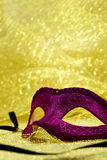 Vintage carnival mask. In golden background with copy space Royalty Free Stock Image