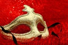 Vintage carnival mask. In red background Stock Image