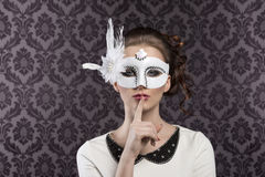 Vintage carnival mask in white Royalty Free Stock Photos