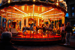Vintage carouse by night. Vintage carousel in the night Royalty Free Stock Photography