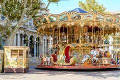 Vintage carousel  in Avignon, France. Stock Photos