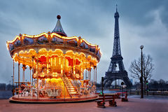 Vintage carousel close to Eiffel Tower, Paris Stock Image