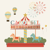 Vintage carousel with colorful horses on a white background. Vector. Illustration Royalty Free Stock Photography