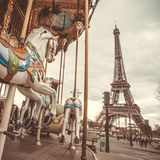 Vintage carousel in Paris Stock Photo
