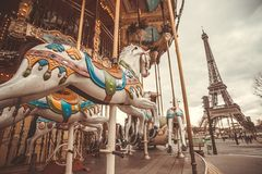 Vintage carousel in Paris Stock Images