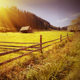 Vintage Carpathian valley Stock Images