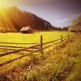 Vintage Carpathian valley Stock Images