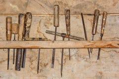 Vintage Carpenter& x27; herramientas de s foto de archivo