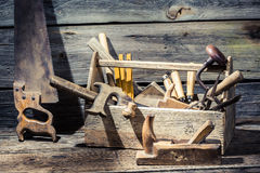 Vintage carpenter tools in a wooden box Royalty Free Stock Image