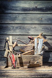 Vintage carpenter tools in wooden toolbox Stock Images