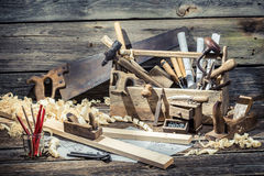 Vintage carpenter working tools Stock Images