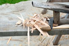 Vintage carpentry bench Stock Photo