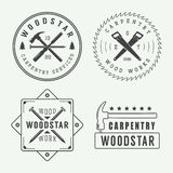 Vintage carpentry or mechanic logo, emblem, badge, label Royalty Free Stock Photos