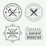 Vintage carpentry or mechanic logo, emblem, badge, label Royalty Free Stock Photos