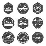 Vintage carpentry tools, labels and design Royalty Free Stock Images
